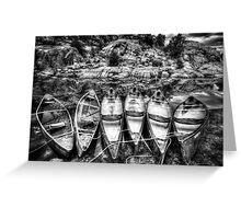 Monochrome Canoes Greeting Card