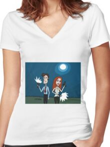 The X Files ... Mulder and Scully are Back  Women's Fitted V-Neck T-Shirt