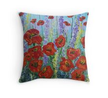 Red Poppy flowers, abstract art, wall art, home decor original painting Throw Pillow
