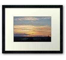 Bird Flying V Sunset Framed Print