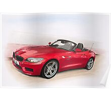 """Red BMW Z4 cabriolet"" Poster"