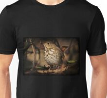 Hermit Thrush Perched On A Felled Tree Unisex T-Shirt