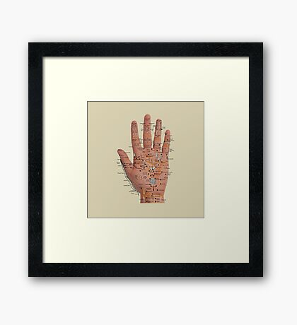 Hand with acupressure points Framed Print
