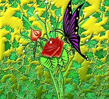 Butterfly and Roses by Edmond  Hogge
