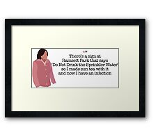 Sun Tea Infection Lady Parks and Recreation Framed Print