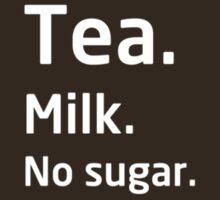 Tea. Milk. No sugar. by bitrot