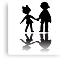 Boy and girl silhouettes Canvas Print