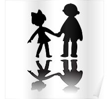 Boy and girl silhouettes Poster
