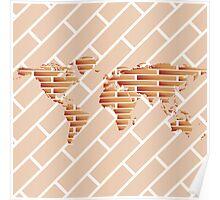 Bricks world map Poster