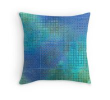 Watercolor Abstraction: Blue Grid Texture Throw Pillow