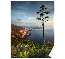 Vista panoramica dei Faraglioni di  Lipari Poster