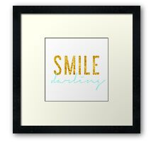 Smile Darling - Aqua & Gold Framed Print