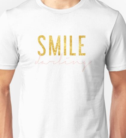 Smile Darling - Peach & Gold Unisex T-Shirt
