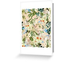 Retro Tropical Flowers Greeting Card