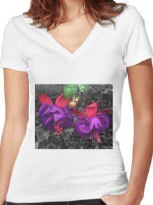 Fuchsia Flowers Women's Fitted V-Neck T-Shirt