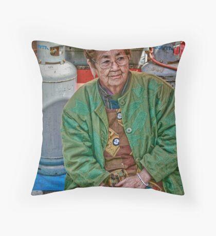 Vendor Lady Throw Pillow