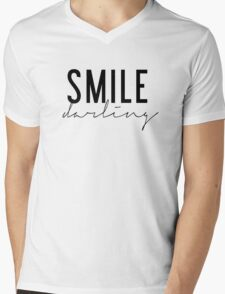 Smile Darling - Black and White Mens V-Neck T-Shirt