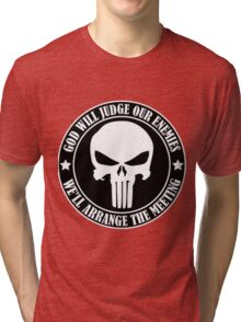 God will judge our enemies We'll arrange the meeting Tri-blend T-Shirt