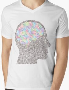 Brain Waves in Technicolor Mens V-Neck T-Shirt