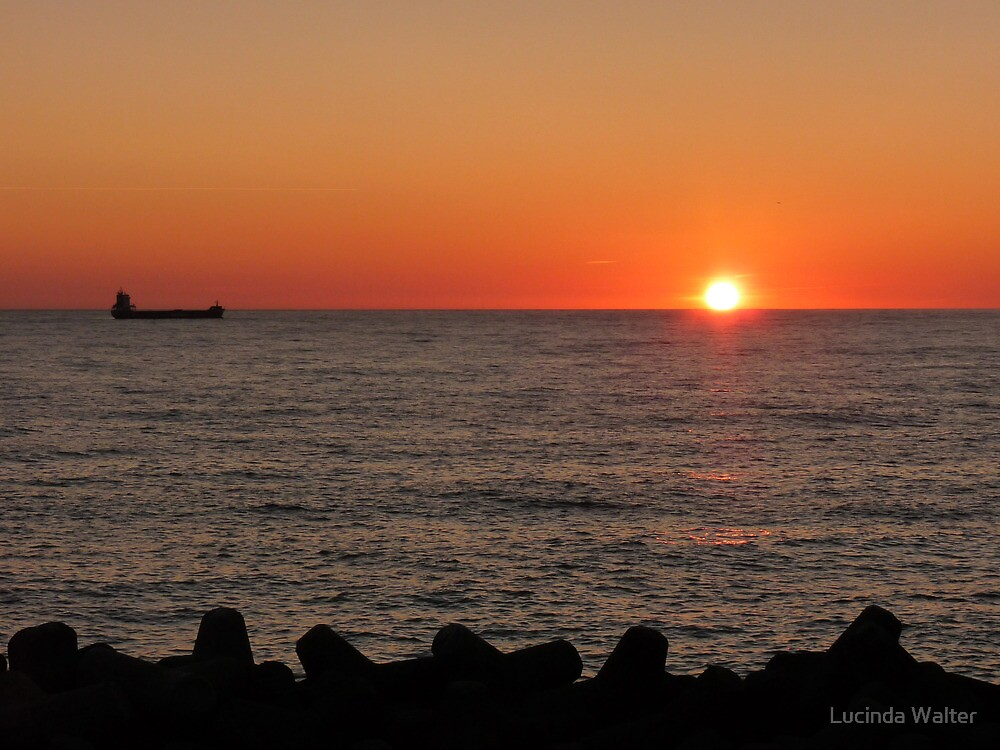 Sunset at Port of Civitavecchia by Lucinda Walter