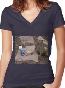 Squirrel Grabbing Grub Women's Fitted V-Neck T-Shirt