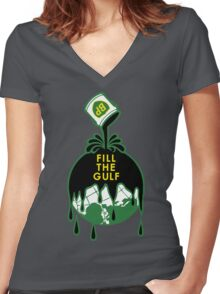 Fill The Gulf Women's Fitted V-Neck T-Shirt