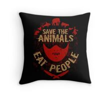 save the animals, EAT PEOPLE Throw Pillow