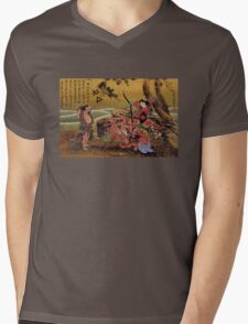 'Tametomo On Demon Island' by Katsushika Hokusai (Reproduction) Mens V-Neck T-Shirt