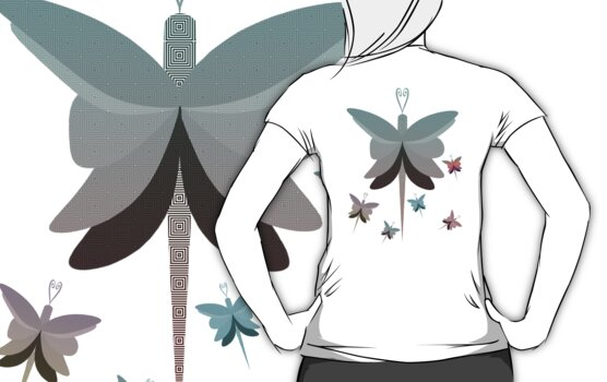 Geometric Butterfly Squadron T Shirt by simpsonvisuals