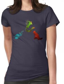 Pokemon- Clash of the Three Titans Womens Fitted T-Shirt