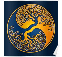 Yellow and Blue Tree of Life Yin Yang Poster
