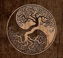 Rough Wood Grain Effect Tree of Life Yin Yang by Jeff Bartels