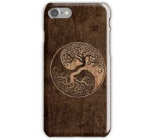 Rough Wood Grain Effect Tree of Life Yin Yang iPhone Case/Skin