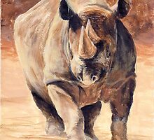 Charging Rhino by Michael Beckett