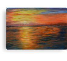 ocean blaze,  ocean sunset,  wall art, abstract art Canvas Print