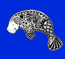 Manatee on blue by Casey Virata