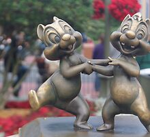 Bronze Disney Figure of Chip & Dale by vikki26
