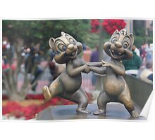 Bronze Disney Figure of Chip & Dale Poster