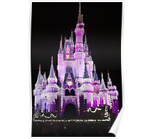 Cinderella Castle at night in Magic Kingdom, Florida Poster