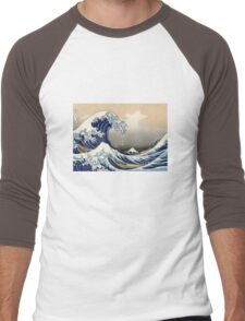 'The Great Wave Off Kanagawa' by Katsushika Hokusai (Reproduction) Men's Baseball ¾ T-Shirt