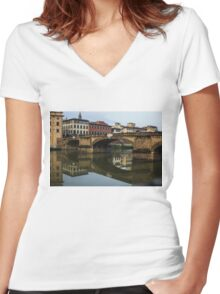 Postcard from Florence  Women's Fitted V-Neck T-Shirt
