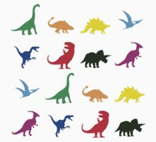 Colourful Dinosaurs Pattern One Piece - Long Sleeve