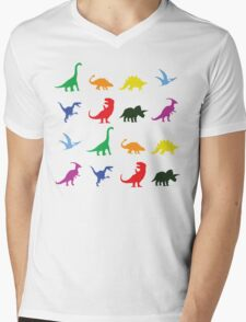 Colourful Dinosaurs Pattern Mens V-Neck T-Shirt