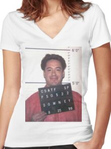 robert downey jr. mugshot Women's Fitted V-Neck T-Shirt