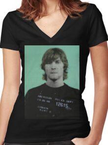 kurt cobain mugshot Women's Fitted V-Neck T-Shirt
