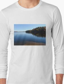 A Blue Autumn Afternoon - Algonquin Lake Serenity Long Sleeve T-Shirt