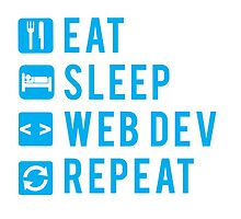Eat Sleep Web Dev Repeat BLUE clear icons by Workwithstellio