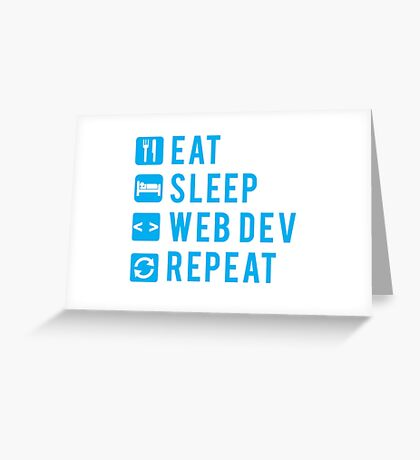 Eat Sleep Web Dev Repeat BLUE clear icons Greeting Card