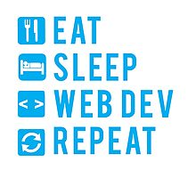 Eat Sleep Web Dev Repeat BLUE clear icons Photographic Print