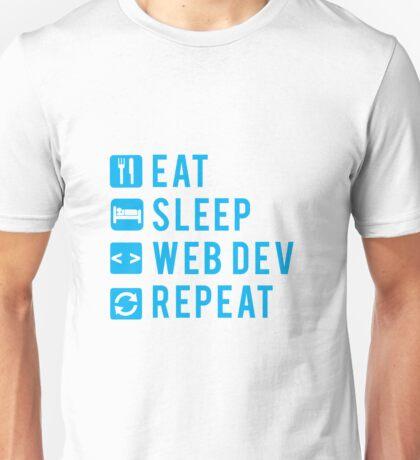 Eat Sleep Web Dev Repeat BLUE clear icons Unisex T-Shirt